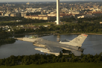 F-16 flying by the Washington Monument